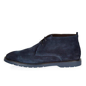 Navy Italian leather chukka boots