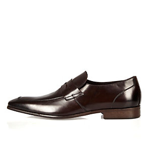 Brown Italian leather apron detail loafers