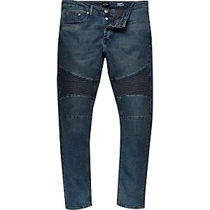 Dark blue wash Sid skinny biker jeans