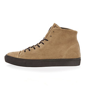 Beige suede lace-up high top sneakers
