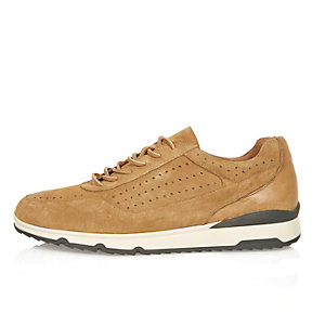 Camel suede perforated sneakers