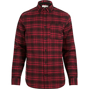 Red check line flannel shirt