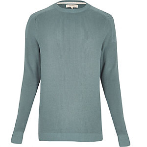 Teal ribbed crew neck long sleeve jumper