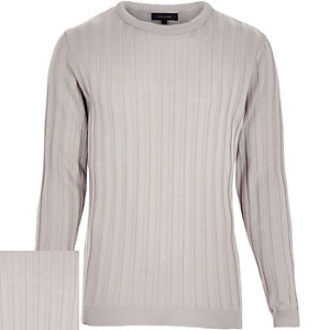 Grey wide ribbed long sleeve jumper