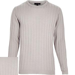 Grey wide ribbed long sleeve jumper