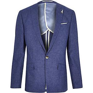 Veste de costume en lin bleue cintrée