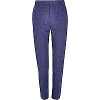 Blue linen slim fit suit trousers