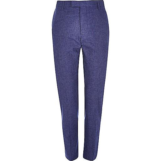 Blaue Slim Fit Anzughose aus Leinen