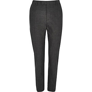 Black linen slim fit suit pants