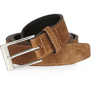 Brown suede stitched belt