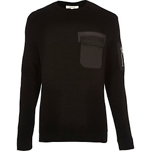 Black knitted minimal pocket sweater