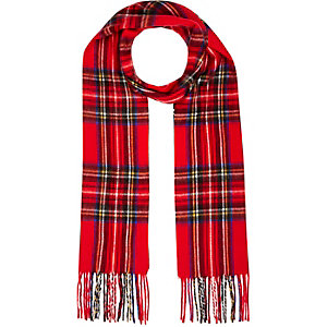 Red plaid pattern scarf