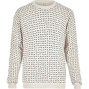 Ecru half spot print sweatshirt