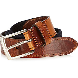 Navy and tan woven belt