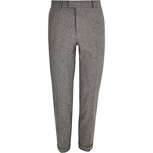 Grey melange slim pants