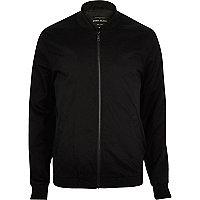 Black plain casual bomber jacket