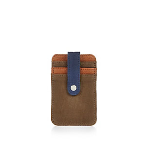 Light brown canvas mix cardholder wallet