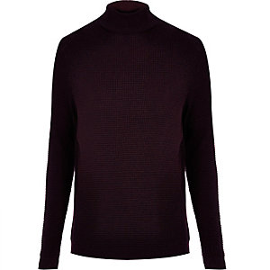 Purple knitted roll neck sweater