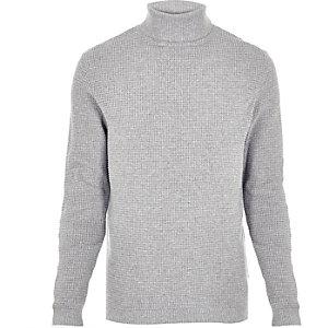 Light grey textured roll neck jumper