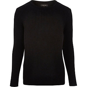 Black ribbed crew neck sweater