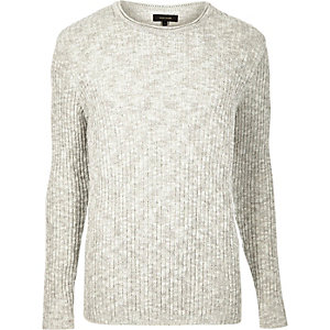 Ecru ribbed crew neck sweater