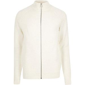 Cream textured zip-up jumper