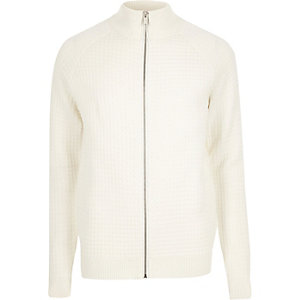 Cream textured zip-up sweater
