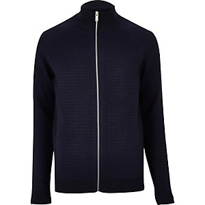 Navy textured zip-up sweater