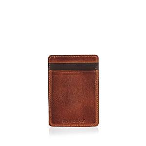 Light brown leather cardholder wallet