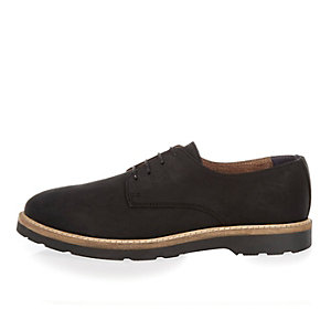 Black nubuck leather lace-up shoes