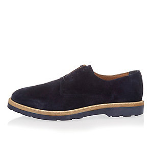 Navy suede lace-up shoes
