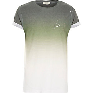Green faded hexagon print t-shirt