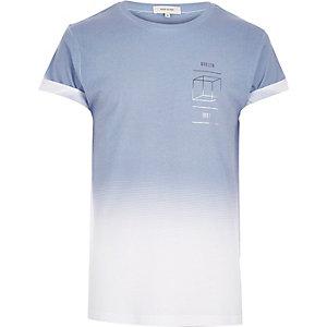 Light blue faded cube print t-shirt