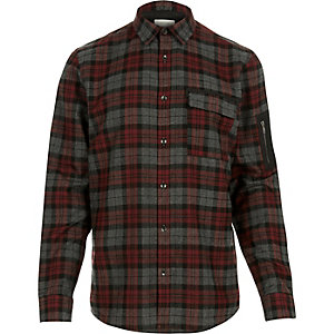 Red check zip sleeve shirt