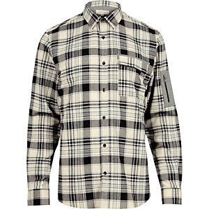 Ecru check zip sleeve shirt