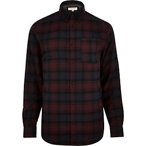 Dark purple check flannel shirt