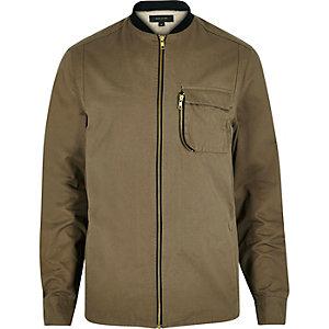 Green zip-up curved pocket shirt jacket