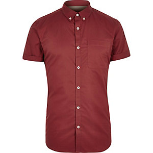 Red twill short sleeve shirt