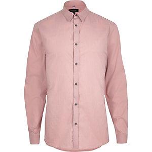 Pink stretch long sleeve slim shirt