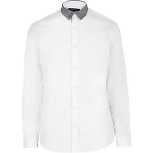 White color block collar slim shirt
