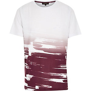 White red faded paint stroke print t-shirt