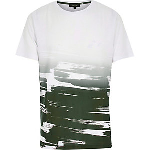 White faded paint stroke print t-shirt