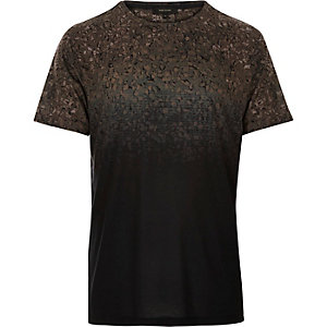 Black faded gravel print t-shirt