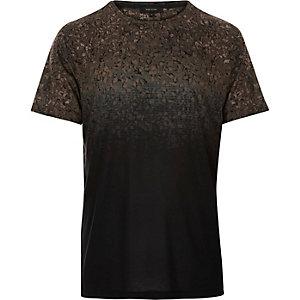 Black faded gravel print t-shirt