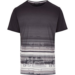Dark grey faded print t-shirt