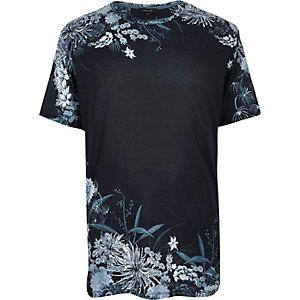 Navy Oriental floral print t-shirt