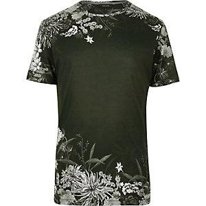 Dark green Oriental floral print t-shirt