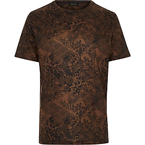 Dark orange Oriental print t-shirt