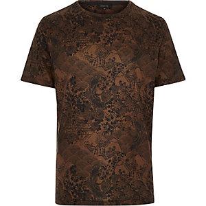 Dark orange Oriental print t-shirt