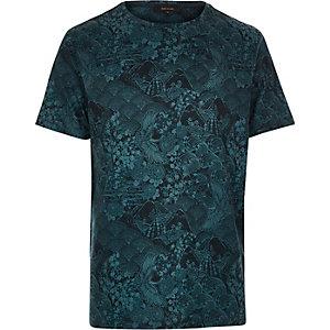 Blue Oriental print t-shirt
